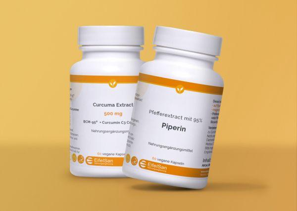 Curcuma 500 Kapseln + Piperin 8 mg aus Pfefferextract