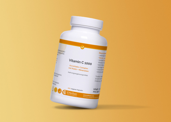 Vitamin C 1000 Kapseln Ascorbat-Complex mit Rutin - vegan