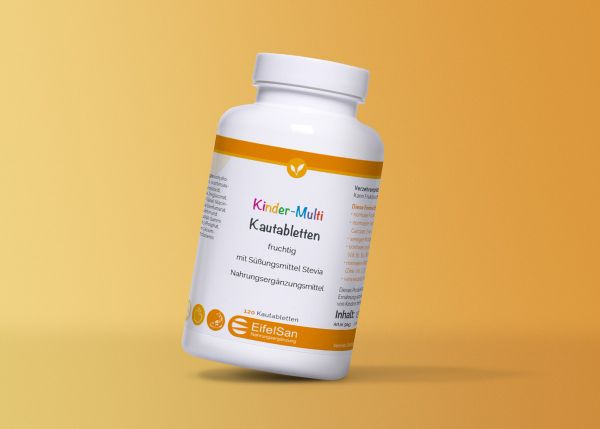 Kinder Multi-Vitamin-Mineralien-Spurenelemente Kautabletten fruchtig