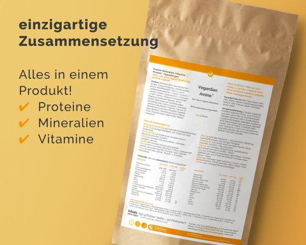 VeganSan Amino PLUS+ - vegane Protein-Ergänzung 750g